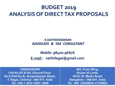 Budget 2019 Analysis of Direct Tax Proposals