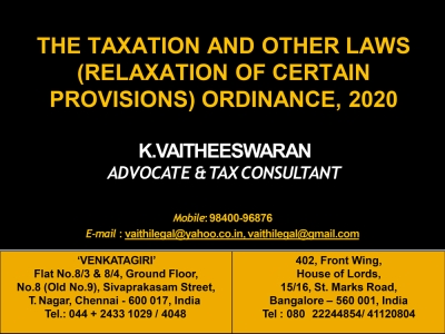 Taxation and Other Laws (Relaxation of Certain Provisions) Ordinance 2020